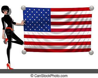 meisje, met, een, vlag van de vsa