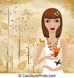 meisje, met, een, vlinder, op, de, achtergrond, grunge, papyrus