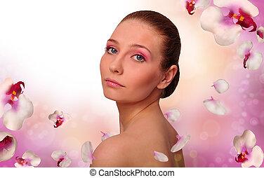 meisje, met, een, witte , orchidee