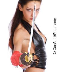 meisje, met, een, zwaard