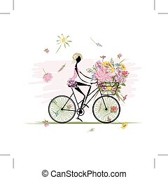 meisje, met, floral boeket, in, mand, cycling