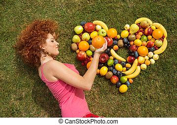 meisje, met, fruit