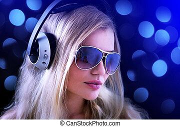 meisje, met, headphones