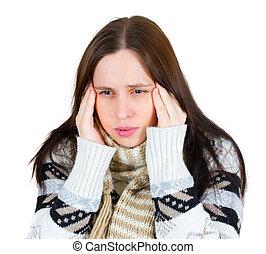 meisje, met, hoofdpijn