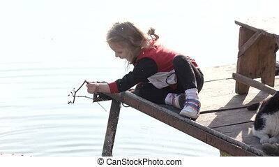 meisje, met, kat, visserij