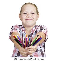 meisje, met, kleurig potloden, op wit, achtergrond