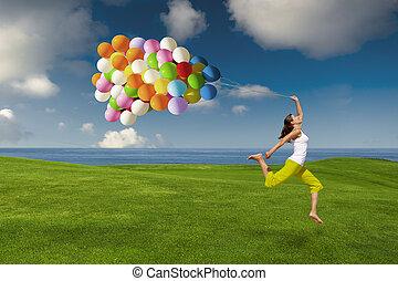 meisje, met, kleurrijke ballons