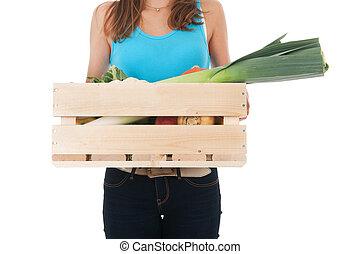 meisje, met, krat, groentes