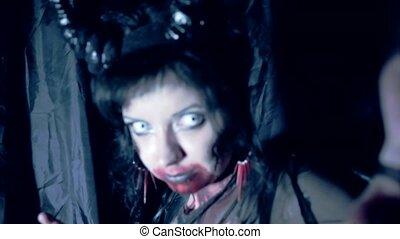 meisje, met, make-up, demon