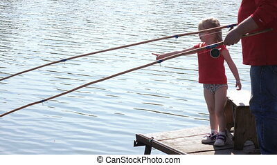 meisje, met, man te vissen