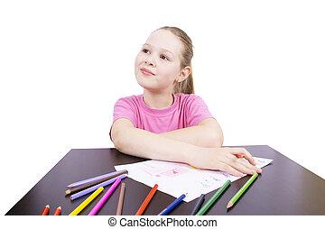 meisje, met, potloden, vrijstaand, op wit