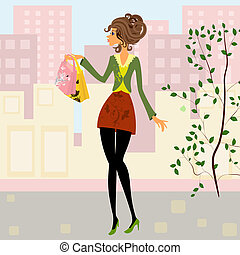 meisje, met, shoppen