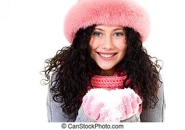 meisje, met, sneeuw