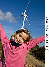 meisje, met, vernieuwbaar, energie