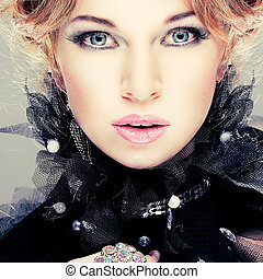 meisje, mode, hairs., portrait., accessorys., rood