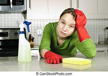 meisje, moe, poetsen, keuken