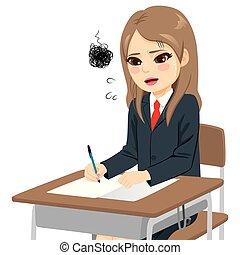 meisje, moeilijk, examen, student, overweldigde