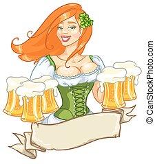 meisje, mooi, bier, ierse