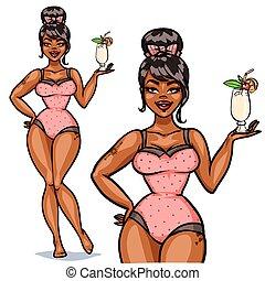 meisje, mooi, cocktail, opprikken