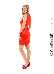 meisje, mooi en gracieus, jurkje, rood