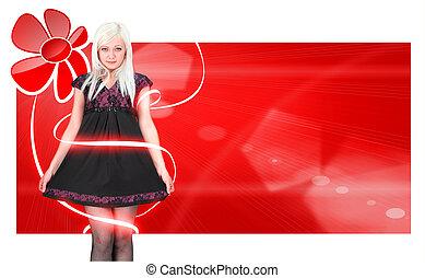 meisje, mooi en gracieus, rode achtergrond