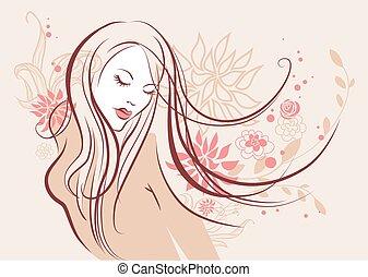 meisje, mooi, floral