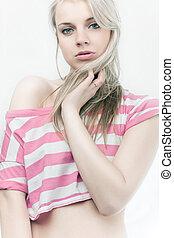 meisje, mooi, sensueel, blonde