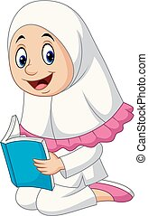 meisje, moslim, boek, spotprent, lezende