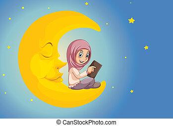 meisje, moslim, lezende , maan