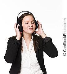 meisje, muziek, luisteren