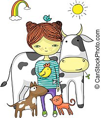 meisje, omringde, vrienden, dier, haar