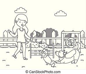 meisje, ontwerp, dog, spotprent, kat