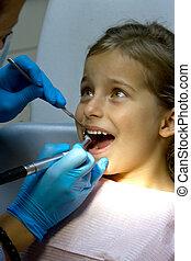 meisje, op, de, dentist.