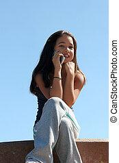 meisje, op de telefoon