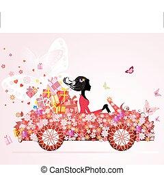 meisje, op, een, rode auto, met, floral, kadootjes
