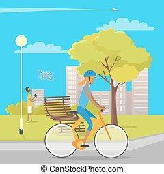 meisje, op, fiets, en, jongen, spelend, met, quadrocopter