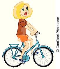 meisje, op, fiets