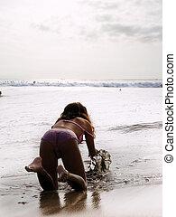 meisje, op het strand