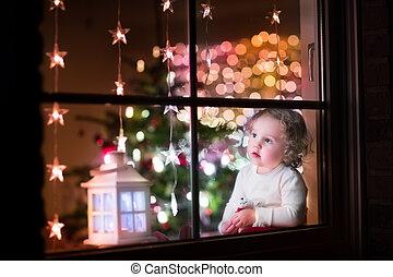 meisje, op, kerstavond