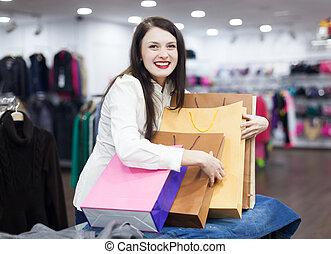 meisje, op, kleding winkel