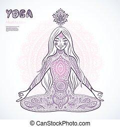 meisje, ouderwetse , meditatie, illustration., pose