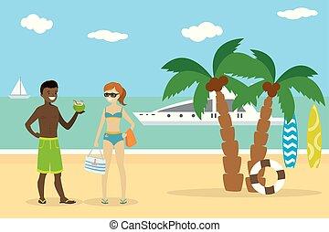 meisje, paar, europeaan, amerikaan, jongen, afrikaan, strand, spotprent, tieners
