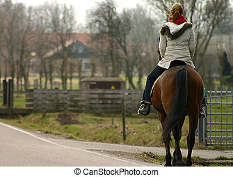 meisje, paardrijden, paarde