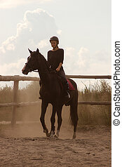 meisje, paardrijden, treinen