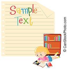meisje, papier, boek, mal, lezende