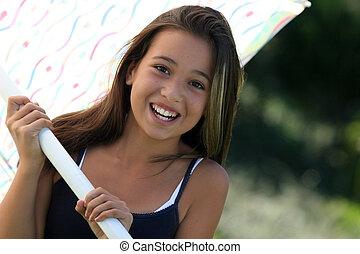 meisje, paraplu