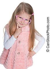 meisje, peinzend, preschool, bril