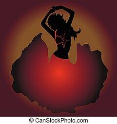 meisje, pens, het dansen., silhouette.