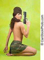 meisje, pet, garnizoen, geweer