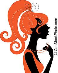 meisje, profiel, silhouette, mooi